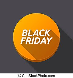 Long shadow round buttonwith the text BLACK FRIDAY