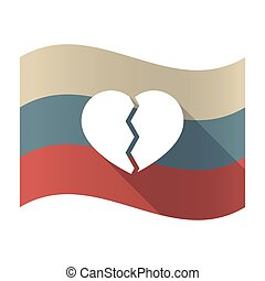Long shadow Russia flag with a broken heart