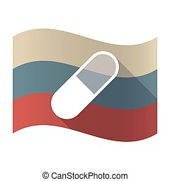 Long shadow Russia flag with a pill