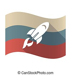 Long shadow Russia flag with a rocket