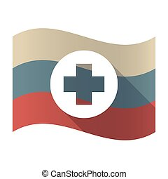 Long shadow Russia flag with a round pharmacy sign