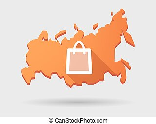 Long shadow Russia map icon with a shopping bag