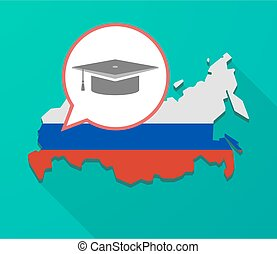 Long shadow Russia map with a graduation cap