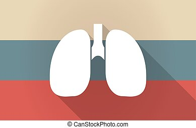Long shadow Russia map with a healthy human lung icon