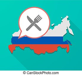 Long shadow Russia map with a knife and a fork
