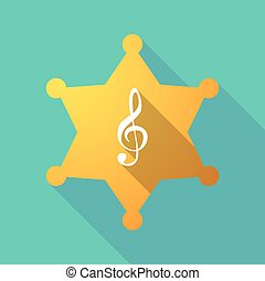 Long shadow sheriff star with a g clef - Illustration of a...
