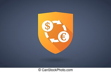 Long shadow shield icon with a dollar euro exchange sign