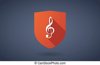 Long shadow shield icon with  a g clef