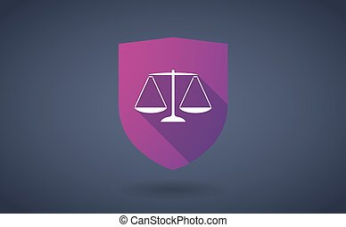 Long shadow shield icon with a justice weight scale sign