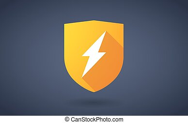 Long shadow shield icon with a lightning sign