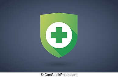 Long shadow shield icon with a pharmacy sign