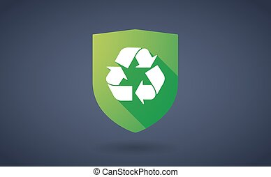 Long shadow shield icon with a recycle sign