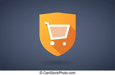 Long shadow shield icon with a shopping cart