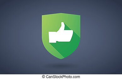 Long shadow shield icon with a thumb up hand - Illustration...