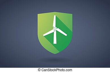 Long shadow shield icon with a wind generator - Illustration...