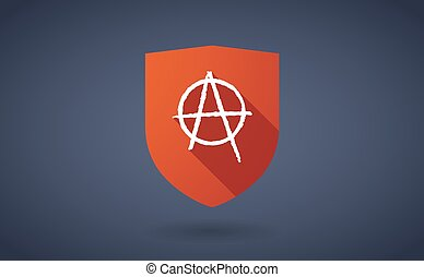 Long shadow shield icon with  an anarchy sign