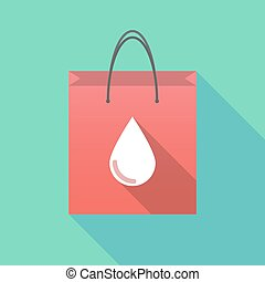 Long shadow shopping bag with a blood drop