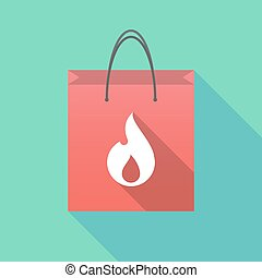 Long shadow shopping bag with a flame