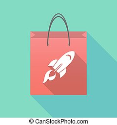 Long shadow shopping bag with a rocket