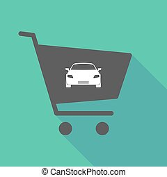 Long shadow  shopping cart with a car