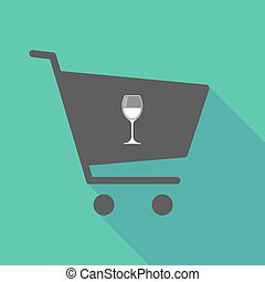 Long shadow  shopping cart with a cup of wine