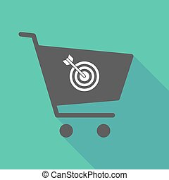 Long shadow shopping cart with a dart board - Illustration...