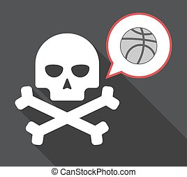 Long shadow skull with  a basketball ball
