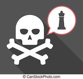 Long shadow skull with a  king   chess figure