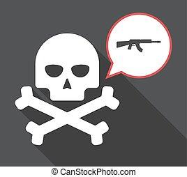 Long shadow skull with  a machine gun sign