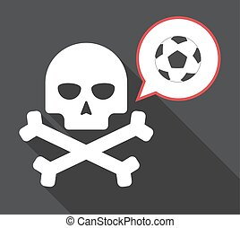 Long shadow skull with  a soccer ball