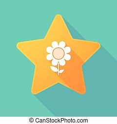 Long shadow star with a daisy