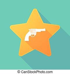 Long shadow star with a gun