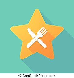 Long shadow star with a knife and a fork