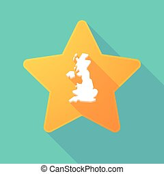 Long shadow star with  a map of the UK