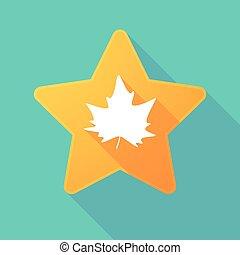 Long shadow star with an autumn leaf tree