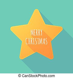 Long shadow star with    the text MERRY CHRISTMAS