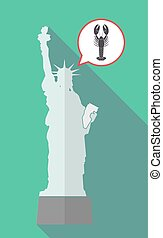 Long shadow statue of liberty with a lobster seafood