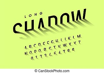 Long shadow style font, alphabet letters and numbers vector ...