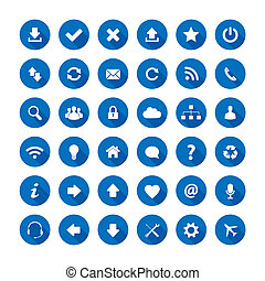 Long shadow style icons - Set of long shadow style icons