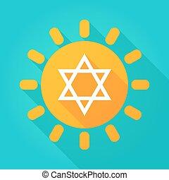 Long shadow sun icon with a David star