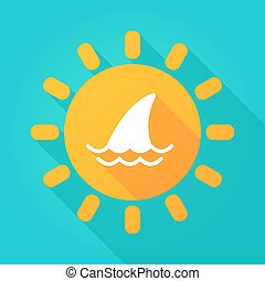 Long shadow sun icon with a shark fin