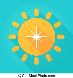 Long shadow sun icon with a star