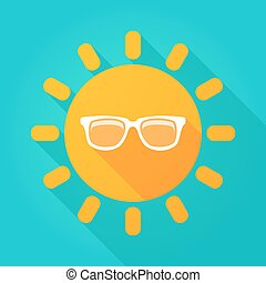 Long shadow sun icon with a sun glasses