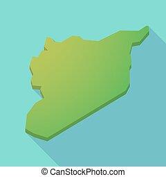 Long shadow Syria green map
