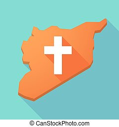 Long shadow Syria map with a christian cross - Illustration ...