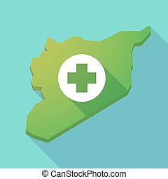 Long shadow Syria map with a round pharmacy sign - ...