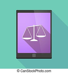 Illustration of a long shadow tablet pc icon with an unbalanced weight scale