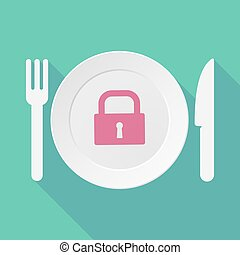 Long shadow tableware illustration with a closed lock pad -...