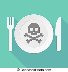 Long shadow tableware illustration with a skull