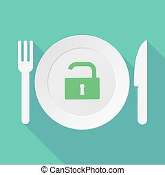 Long shadow tableware illustration with an open lock pad -...
